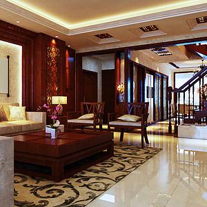 中广宜景湾-330平米-中式风格装修案例效果图