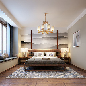 床头背景墙用山水画做主题