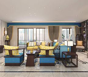 340㎡大平层现代中式风格客厅效果图