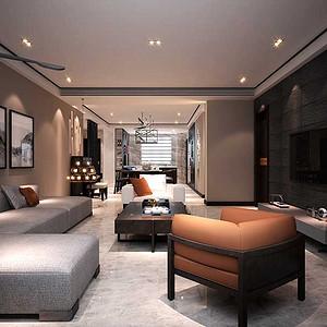 国熙台 现代中式装修效果图 四室两厅 200平米