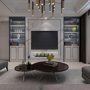 客厅电视背景墙以白色大理石铺贴为主