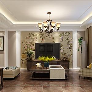 现代美式风格客厅电视背景墙