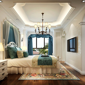 美式乡村风格卧室装修效果图 别墅装