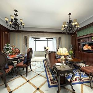 金都汉宫美式新古典客餐厅装修效果图