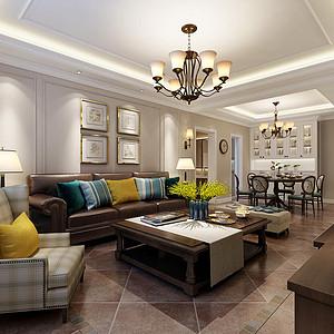 现代美式风格沙发背景墙