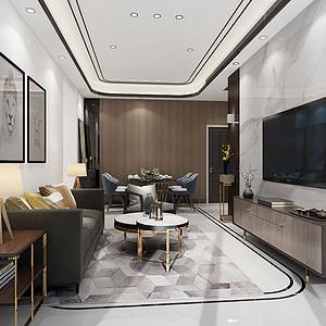 110㎡两居室现代港式风格客厅效果图