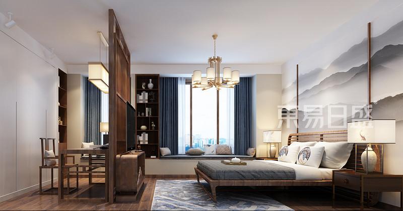 主卧床头背景墙用山水画做主题效果图_装修效果图大全