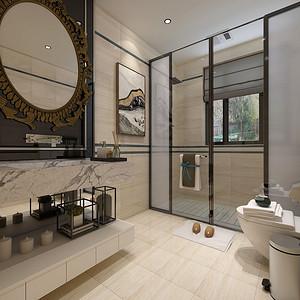 卫生间暖色调的瓷砖与重色金属的搭配