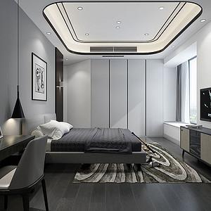 110㎡两居室现代港式风格主卧效果图