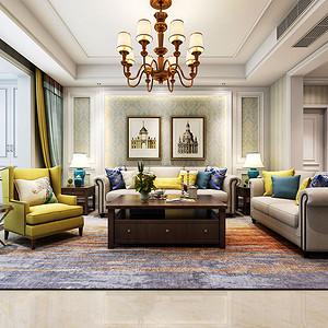 客厅白色与黄色两种主色调
