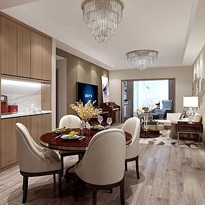 118㎡三居室现代风格客餐厅效果图