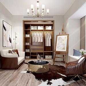118㎡三居室现代风格书房效果图
