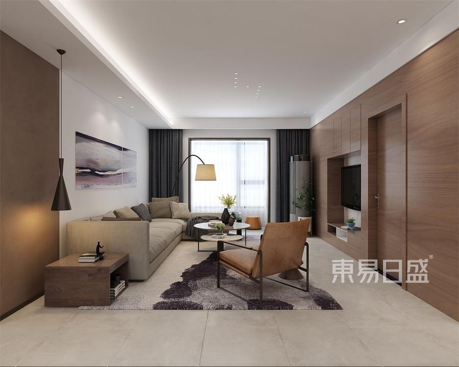 四居室-美式-客厅-效果图