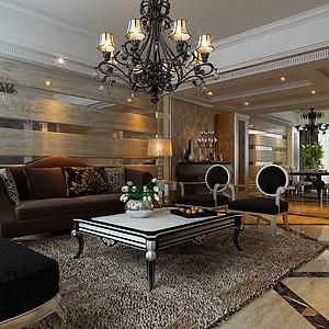 客厅沙发背景墙采用条形原木做处理。