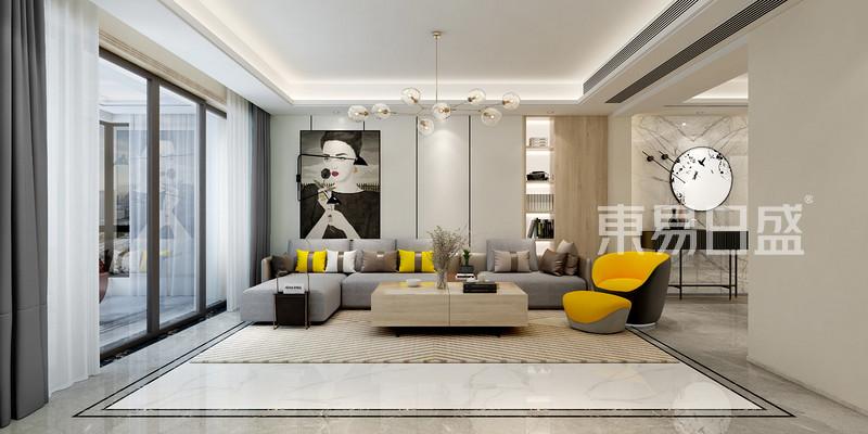 现代风格三室二厅客厅装修
