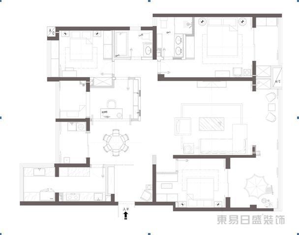 湖城大境 新中式风格 230平方米 户型图设计分析点评介绍 户型图设计