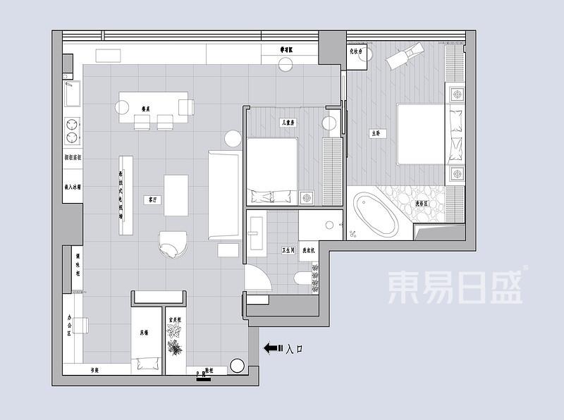 首开璞瑅紫方园-150平米现代简约-户型解析