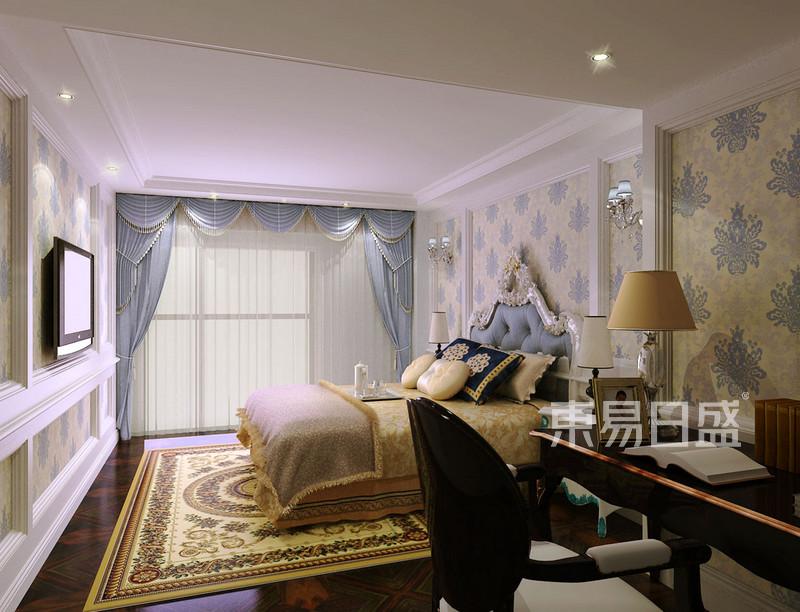 卧室强调感官舒适性,顶面白色、白色石膏条做点缀色,墙面大面积暗纹壁纸作为卧室的过渡色,搭配顶面及床头石膏线条对称造型设计为使其睡眠区设计更加舒适。.jpg