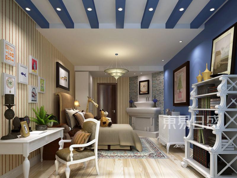 儿童房以蓝色和白色为主,蓝色的木梁吊顶充满童趣与清新。.jpg