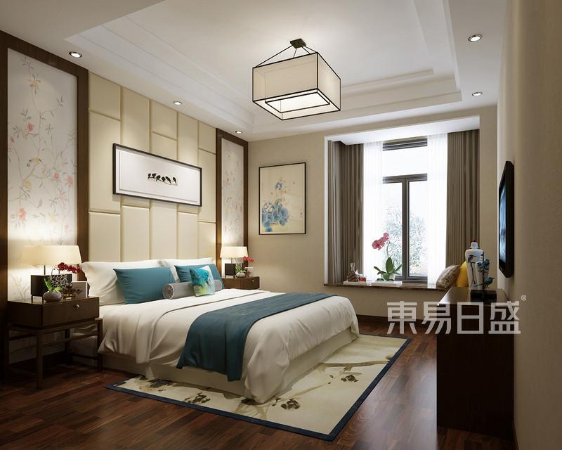 主卧说明:床头背景墙采用米色软包,提升卧室空间装饰档次,增强空间