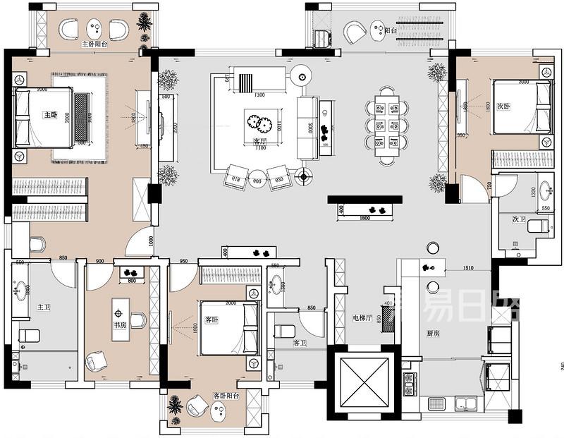 设计大师 设计师详情 邵天鹏设计师装修户型解析详情  3,客餐厅分区不