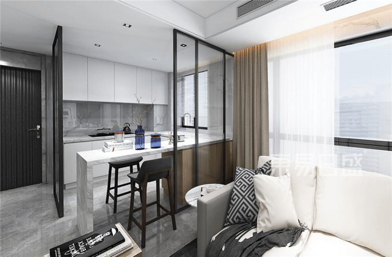 精致的移门就是装装饰品,半敞开式的厨房增加了空间和时尚感.png
