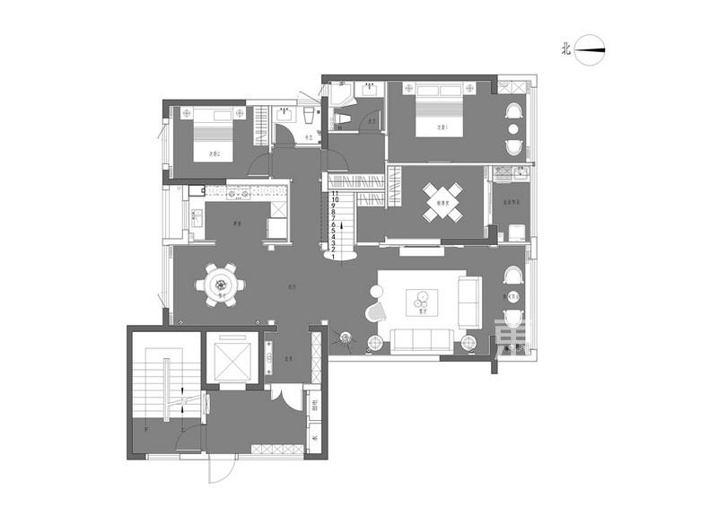温州府—187平—美式轻奢风格跃层户型解析