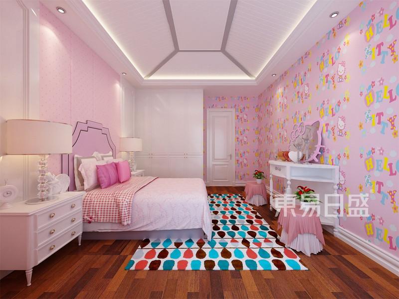 女孩房:女孩房采用粉色为主,简单的吊顶,充满卡通图案的壁纸和家具,为
