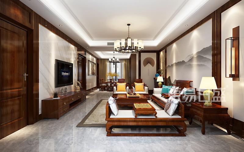 中式风格三室二厅客厅装修