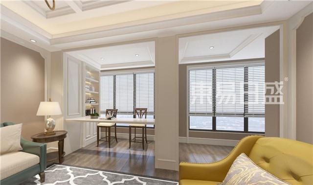 把狭小的阳台做成书吧与客厅做空间与功能的互补.jpg