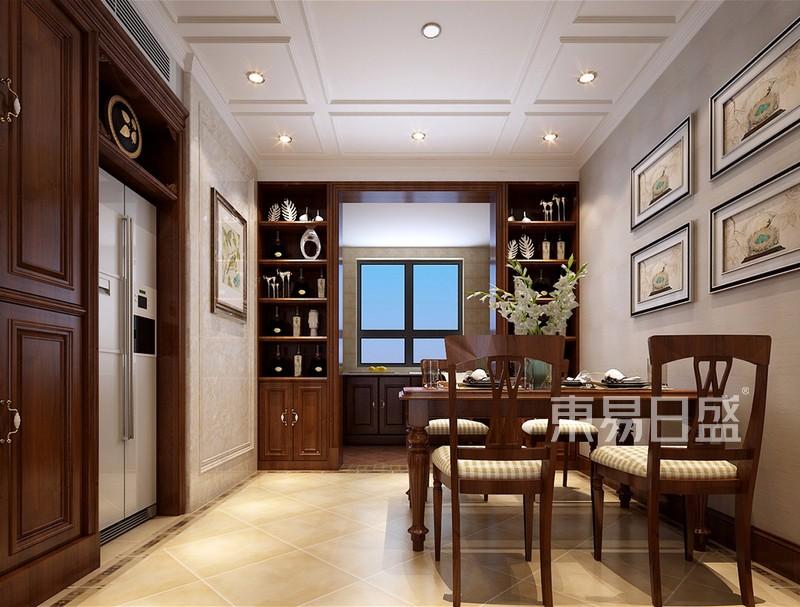 餐厅效果图: 鞋柜,冰箱嵌入墙体整洁大方,开放式厨房用对称式酒柜进行