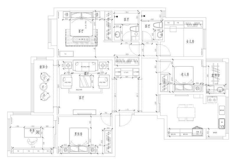 如园166平四室二厅户型解析