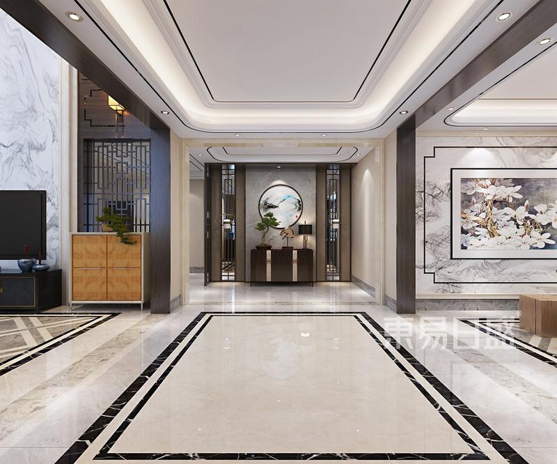以现代中式设计,在进入宽敞门厅踏入家的同时,给人一种心旷神怡的感觉,通透的落地窗不仅阳光可以肆虐的洒落家内,同时可以一饱外面的风景,设计师采用色彩中性的简洁家具,给本案例提供了一种典雅时尚和舒适与美感并存的现代新中式家的享受。 客厅:整个客厅的设计现代时尚,背景墙的木制花格和大理石结合,冷峻却有不失亲和力。