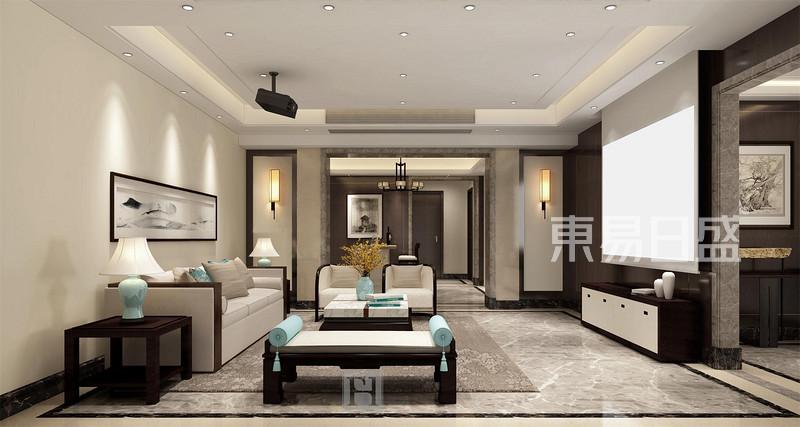 大华观芷450方新中式客厅效果图