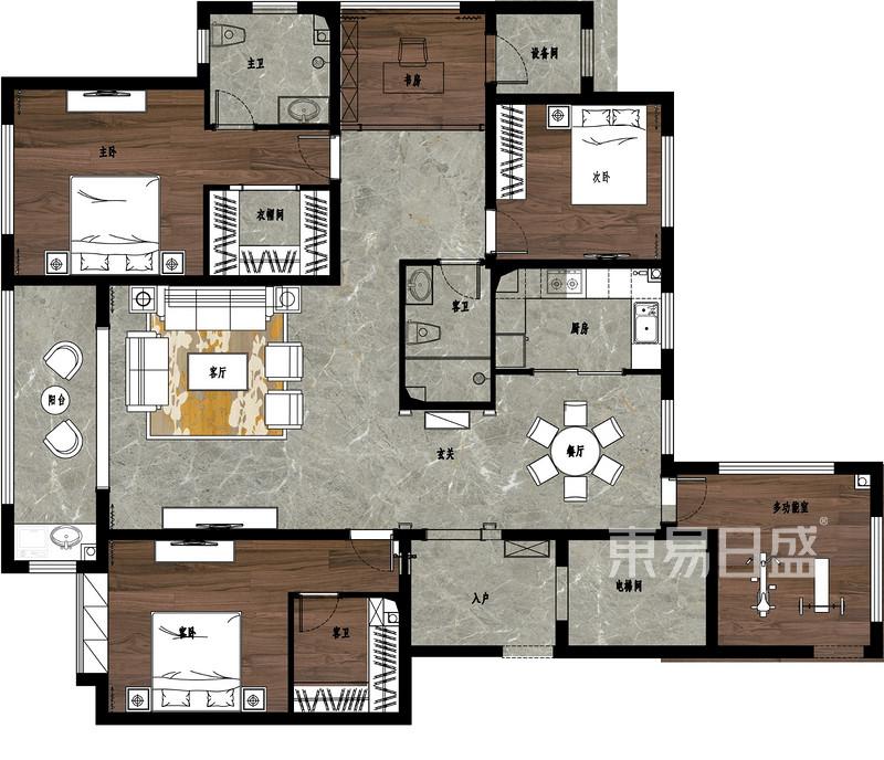 荣盛华府185平四室二厅户型解析