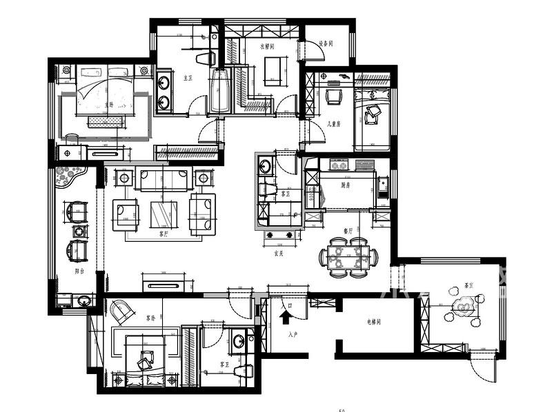 荣盛华府185平五室二厅户型解析
