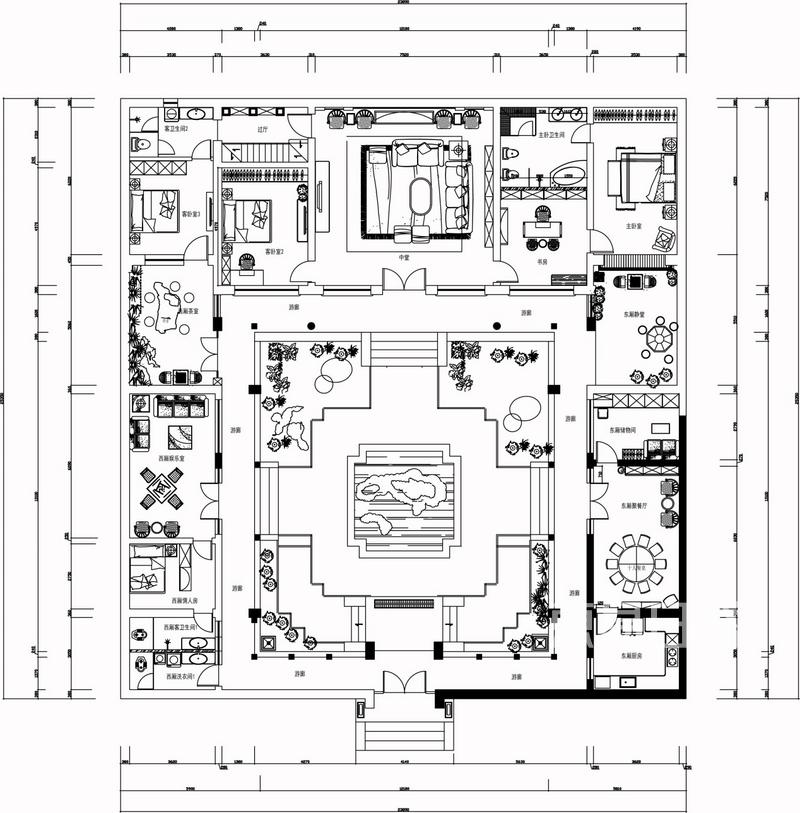 可看出,此四合院被分为东西两厢房,主卧在东,两个次卧图片