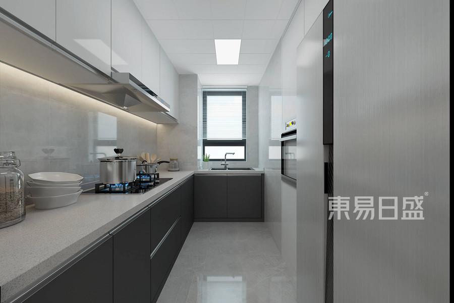 廚房采用鐵灰加亮白的顏色搭配,現代前衛,干凈大方