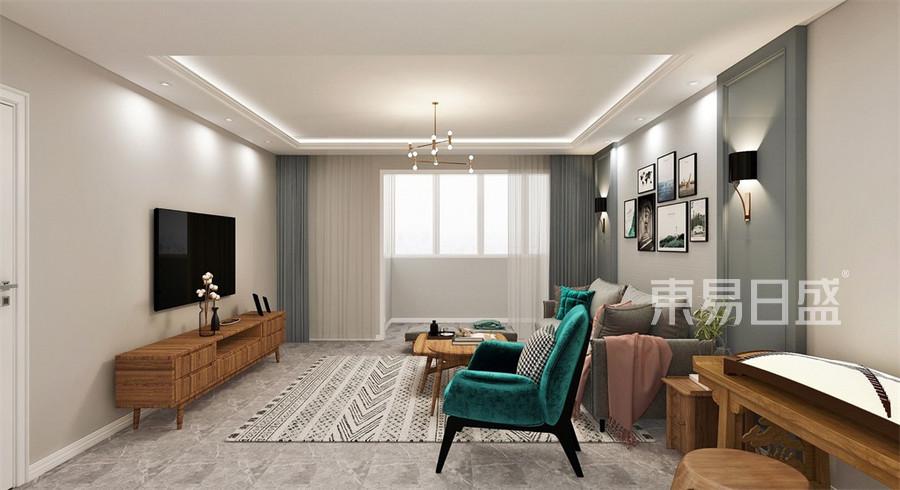 现代轻奢风格-客厅装修效果图