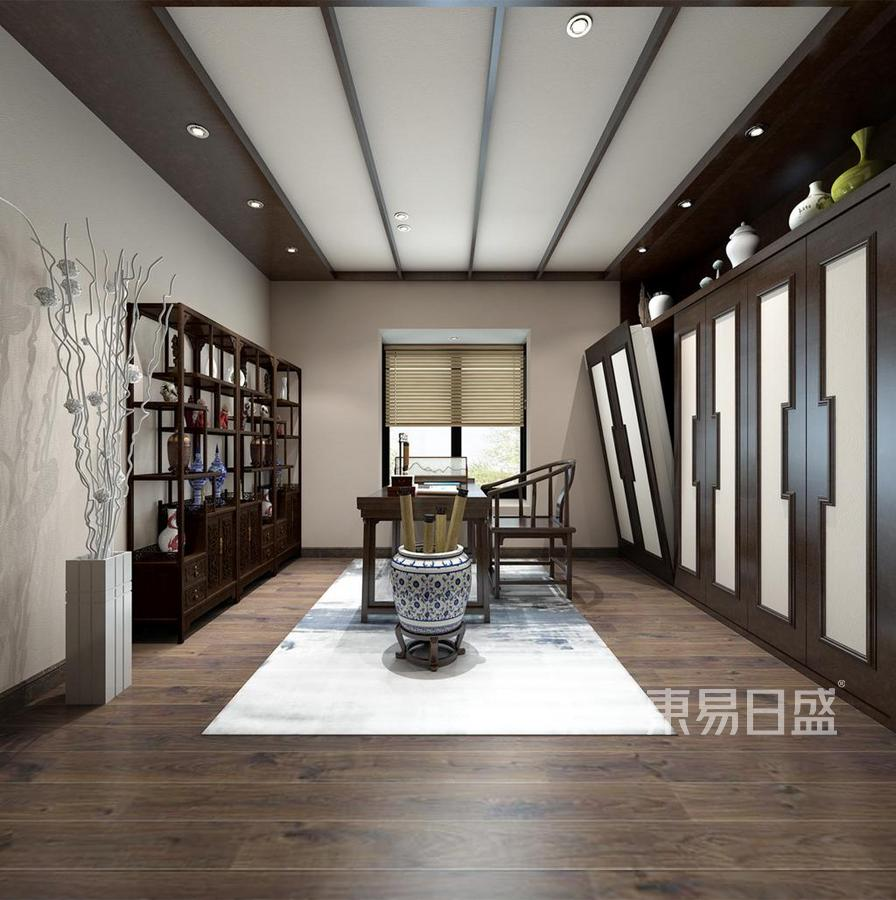 君臨海域-新中式風格-書房裝修效果圖