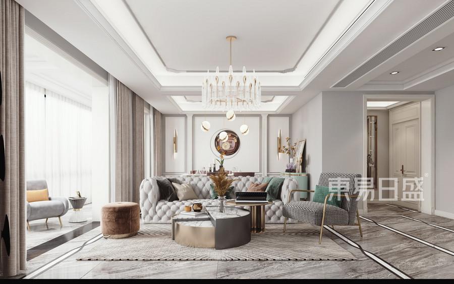 大华·公园世家四居室现代欧式装修效果图-客厅装修设计