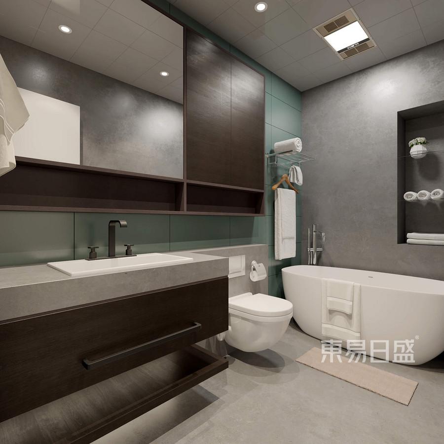 卫生间:L形设计一目了然浴室柜背后利用绿色瓷片丰富了空间色彩