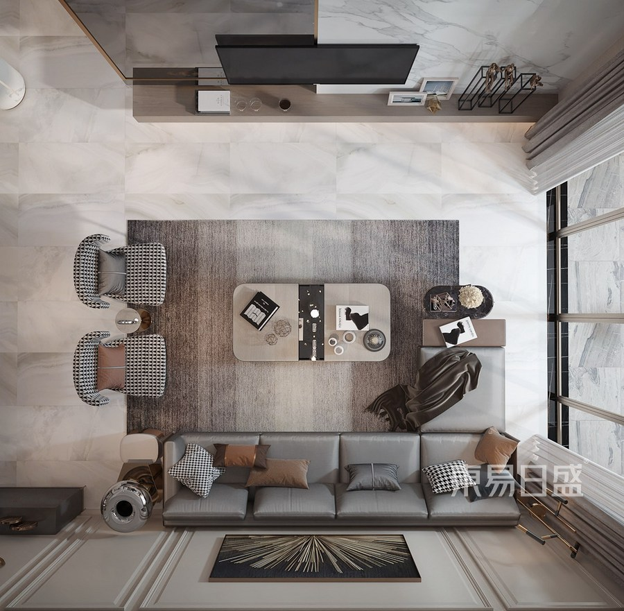 客厅俯视-别墅-轻奢-效果图