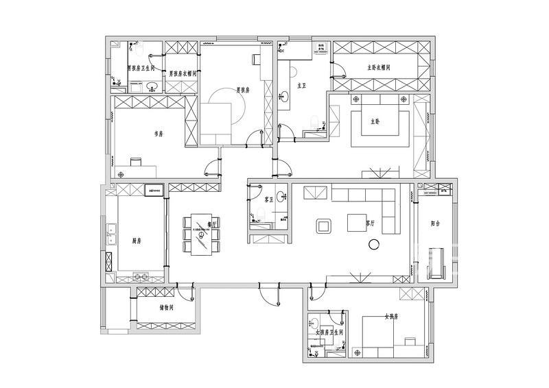 四居室装修户型图